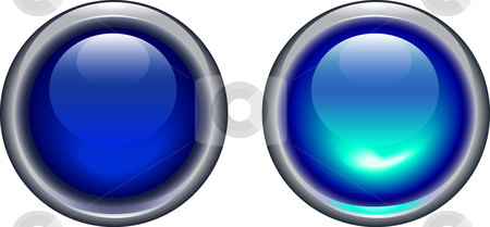 Blue on and off button - vector stock vector clipart, Vector illustration of blue led light button on and off by danielboom