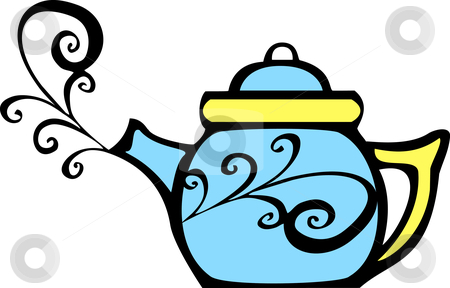 Swirl Teapot stock vector clipart, Retro 70s image of a psychedelic teapot with steam coming out. by Jeffrey Thompson