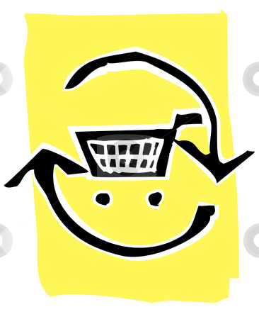 Woodcut recycle image #1 stock vector clipart, Shopping Cart in a circle of recycle or refresh arrows. by Jeffrey Thompson