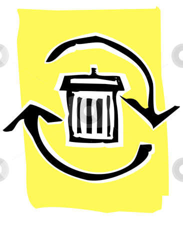 Woodcut recycle image #2 stock vector clipart, Trashcan in a circle of recycle or refresh arrows. by Jeffrey Thompson