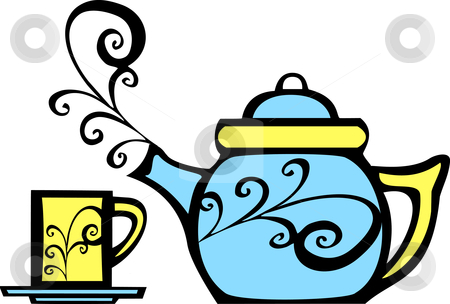 Swirl Teapot and Mug stock vector clipart, Retro 70s image of a psychedelic teapot and matching mug. by Jeffrey Thompson