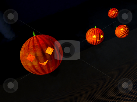 Pumpkin Invasion2 stock photo, Flying pumpkins invade on halloween by Ira J Lyles Jr