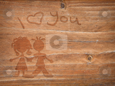 Wooden love stock photo, I love you writing in wood with love couple by Karin Claus