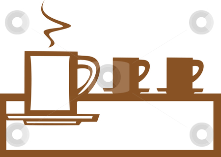 Line of Coffee Mugs stock vector clipart, Basic coffee mug design good for posters or signs. by Jeffrey Thompson