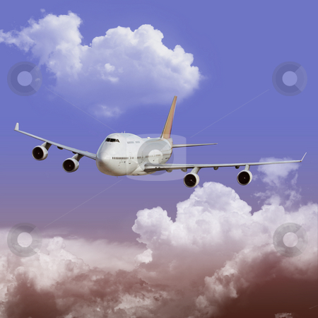 Airliner stock photo, An Airliner in Flight over Clouds by Binkski Art