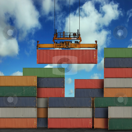 Freight Containers stock photo, Stack of freight containers at the docks by Binkski Art