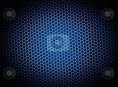 Honeycomb Background Blue stock photo, Blue honeycomb background 3d illustration or backdrop with light effect by Henrik Lehnerer