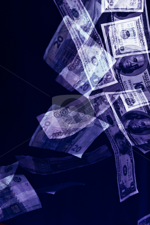 Money stock photo, Money series: falling bank-paper money over blue, inflation by Gennady Kravetsky