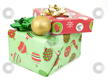 Presents with bauble stock photo, Presents with bauble on a white background by John Teeter