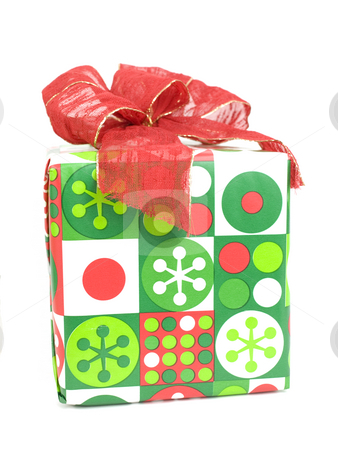 Wrapped present stock photo, Wrapped present on a white background with bow by John Teeter