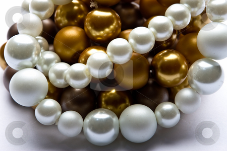 Costume Juwelery stock photo, Pearl designer costume jewelery in macro on white background by Adriaan Van den Berg