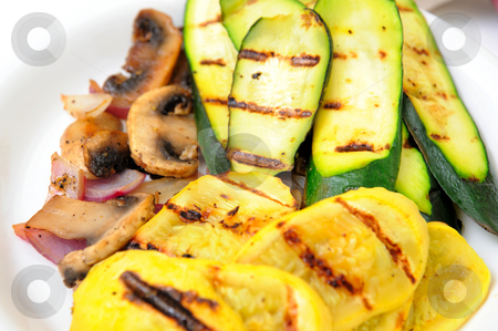 Grilled Squash stock photo, Zucchini and yellow summer squash grilled with suateed mushrooms and onions by Lynn Bendickson