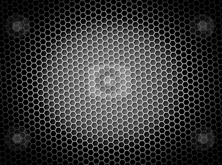 Honeycomb Background BW stock photo, Black and white honeycomb background 3d illustration or backdrop with light effect by Henrik Lehnerer