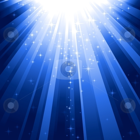 Magic stars descending on beams of light stock vector clipart, Festive blue square abstract background with stars descending on rays of light. 7 global colors, background controlled by 1 linear gradient. by Ina Wendrock