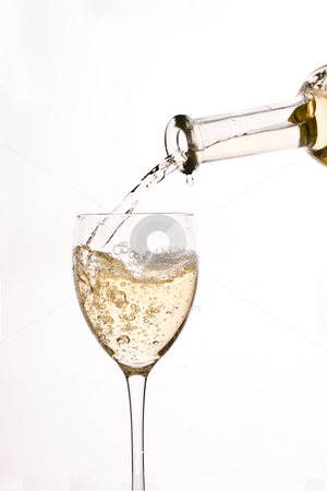 White wine stock photo, Drink series: white wine pouring to a glass by Gennady Kravetsky