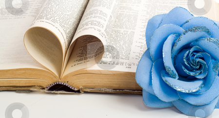 Religion Love stock photo, A couple of bible pages folded to make a heart with a artificial flower on the side by Richard Nelson