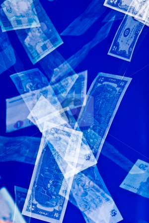 Money stock photo, Money series: falling banknotes on the blue by Gennady Kravetsky