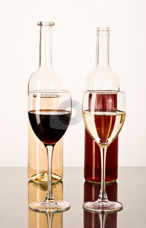 Red and white wine stock photo, Drink series: red and white wine in the bocals by Gennady Kravetsky