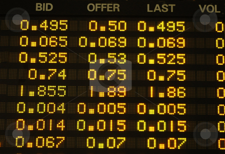 Share Prices stock photo, Share prices quoted on an electronic board. by Lee Torrens