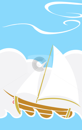 Simple Boat at Sea stock vector clipart, Simple children's boat design sailing on waves at sea. by Jeffrey Thompson