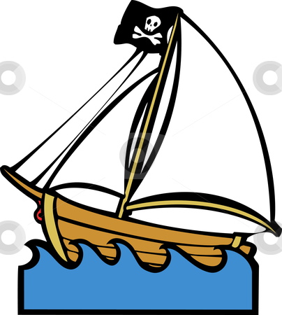 Pirate Boat stock vector clipart, Simple children's boat image with pirate flag and sails. by Jeffrey Thompson