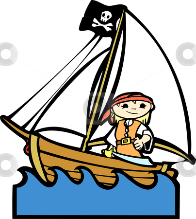 Pirate Boat with Girl stock vector clipart, Simple children's boat image with girl in pirate costume. by Jeffrey Thompson