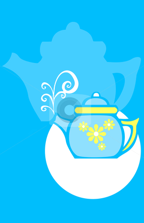 Flower Tea Pot stock vector clipart, Seventies style retro image of a tea pot with flowers. by Jeffrey Thompson