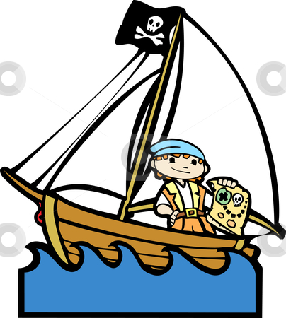 Pirate Boat with Boy #2 stock vector clipart, Simple children's boat image with boy in pirate costume. by Jeffrey Thompson