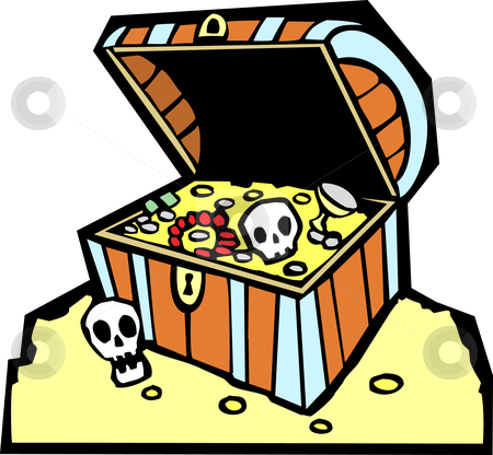 Treasure Chest stock vector clipart, Pirate treasure chest with gold coins and skulls. by Jeffrey Thompson