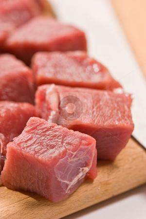 Beef stock photo, Food serias: raw fresh meat sliced in cube by Gennady Kravetsky