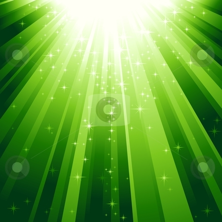 Magic stars descending on beams of light stock vector clipart, Festive square abstract background with stars descending on rays of green light. 7 global colors, background controlled by 1 linear gradient. by Ina Wendrock