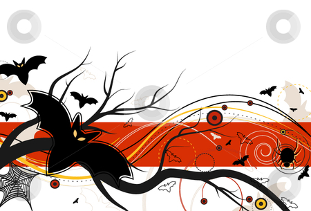 Bat Flight on Halloween stock vector clipart, Bats in Flight on Halloween and abstract design on a white background by x7vector
