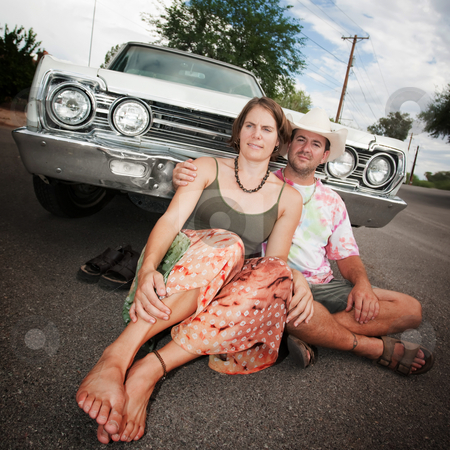 Happy Couple with Vintage Car stock photo, Happy Adult Couple with Vintage White Car by Scott Griessel