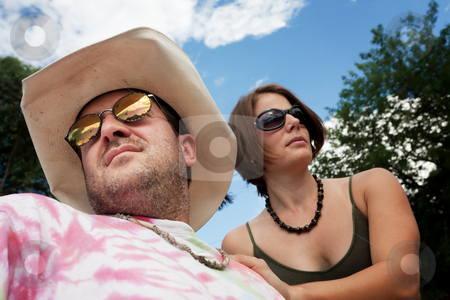 Happy Couple stock photo, Happy Adult Couple Outside on Cloudy Day by Scott Griessel