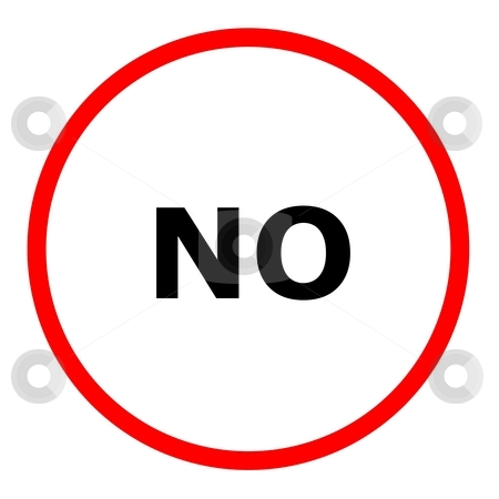 No Sign stock photo, Red no Sign on a white background. by Henrik Lehnerer