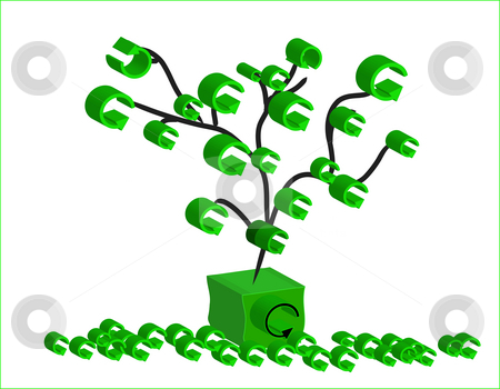 Recycle tree stock photo, An isolated recycle tree shedding leaves by Stephen Clarke