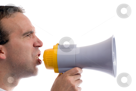 Blowhorn stock photo, A profile view of a man yelling into a blowhorn, isolated against a white background by Richard Nelson