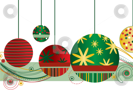Christmas Ornaments in Red and Green stock vector clipart, Christmas Ornaments in Red and Green with abstract design on a white background by x7vector
