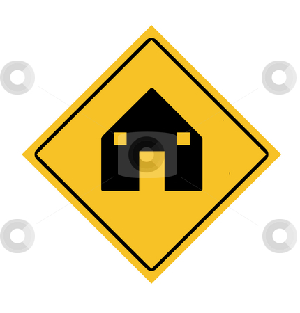 House road sign stock photo, Yellow diamond house road sign, isolated on white background. by Martin Crowdy