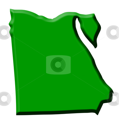 Egypt map stock photo, Green map of country of Egypt in 3d, isolated on white background. by Martin Crowdy