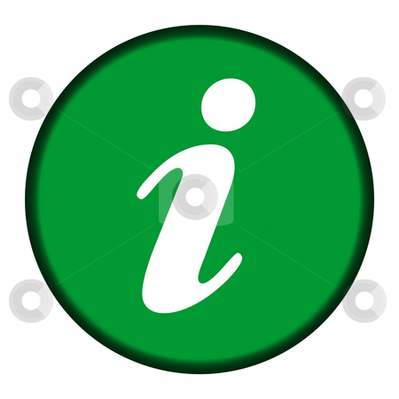 Circular green information button stock photo, Circular green information button isolated on white background. by Martin Crowdy