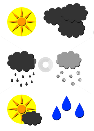 Weather forecast symbols stock photo, Set of weather forecast symbols isolated on white background. by Martin Crowdy