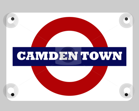 Camden Town Tube sign stock photo, Camden Town tube sign isolated on white background. by Martin Crowdy