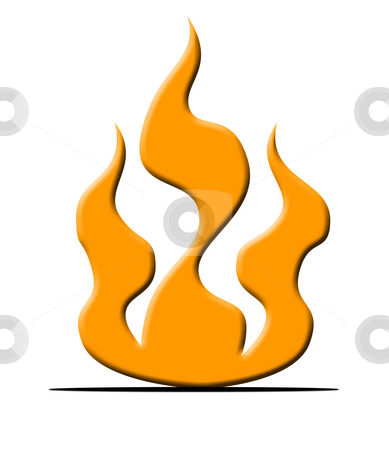 Burning fire symbol stock photo, Orange burning fire symbol, isolated on white background. by Martin Crowdy