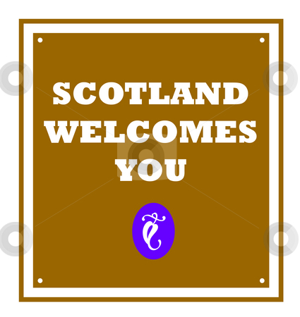 Scotland welcomes you sign stock photo, Scotland welcomes you sign with thistle, isolated on white background. by Martin Crowdy