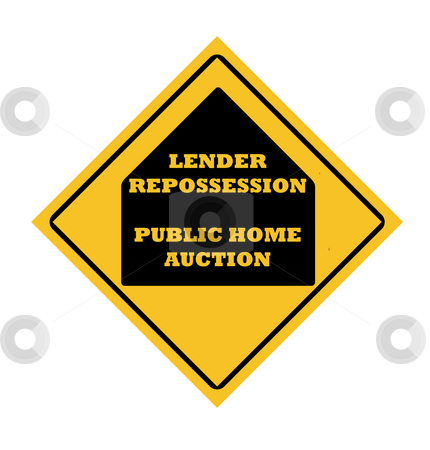 Lender repossession stock photo, Lender repossession public home acuction road sign, isolated on white background. by Martin Crowdy