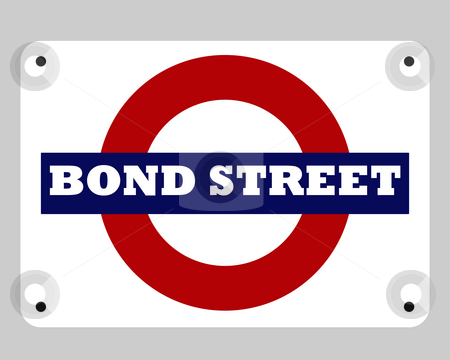 Bond Street Tube sign stock photo, Bond Street tube sign isolated on white background. by Martin Crowdy
