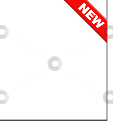 New red corner ribbon stock photo, Red new corner ribbon, isolated on white background. by Martin Crowdy