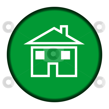 Circular green house button stock photo, Circular green house or home button isolated on white background. by Martin Crowdy
