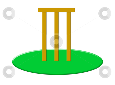 Cricket stumps and bails stock photo, Wooden cricket stumps and bails on grass, isolated on white background. by Martin Crowdy